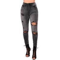 Seksi Kadın Jeans Denim Jeans Delik Pantolon Yüksek Bel Stretch Slim Fit Kalem Pantolon Pantolon Ripped