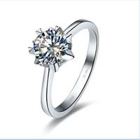 Trendy 925 Sterling Silber Platin Überzogene Frauen Verlobungsringe 0.5Ct Runde SONA Synthetischer Diamant Vorschlag Braut Ring