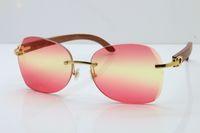 Les fabricants de gros 3524012 Lunettes de soleil sans monture Décor Ossature lunettes de soleil mode Lunettes pour hommes 2020 unisexe corne de buffle glasse