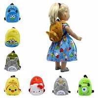 8 Cores Acessórios Boneca Dos Desenhos Animados Saco Pequeno Bonito Saco de Escola para 43 cm Boneca Zapf Bebê Nascido e Boneca American Girl B-4