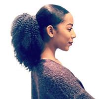 4B 4C Afro 변태 곱슬 머리 인간의 머리 속눈썹 100 % 인간의 머리카락 조각과 포니 테일 클립 브라질 레미 헤어 자연 색상
