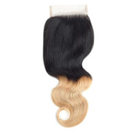 Ombre Two Tone Brazilian Body Wave Lace Closure 4x4 Human Ha...