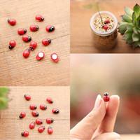 Mini Red Artificial Mini Joaninhas Cabochão Joaninha Kawaii Artesanato Decoração Para Miniaturas de Jardim De Fadas Micro Paisagem