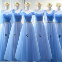 Summer Tulle Long Bridesmaid Dresses with Crystal Sash Sky B...