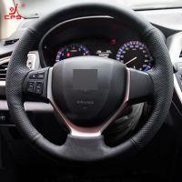 Couverture de volant de voiture cousu main en cuir noir pour Suzuki CELERIO S-CROSS SX4 2013 2014 Suzuki Vitara 2015