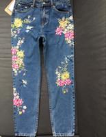 Branqueada Nova Moda Roupas Femininas Calças Jeans Em Linha Reta Calças de Ganga Longa 3D Flores Bordado Cintura Alta Calças Jeans Legging Calças