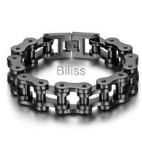 Schwarz / Silber Schwer Breite Edelstahl-Armband 23cm * 18mm Männer Radfahrer-Fahrrad-Motorrad-Kette Männer Armbänder Herren Armbänder