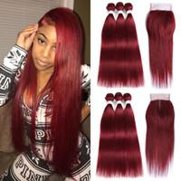 Venta caliente sin procesar #Burgundy Paquetes de cabello recto con cierre Luz Roja Peruana Cabello humano 3Bundles con encaje Cierre 4Pcs Lot Red Hair