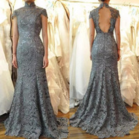 latest 2018 mother of the bride dresses high neck mermaid ca...