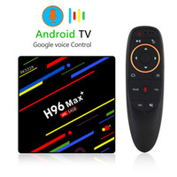 H96 Max + Android TV Box 4G 32 ou 64G ou contrôle vocal 4K boîte 2.4G 5G WiFi Android 8.1 Set Top Box H96 MAX Plus clavier sans fil