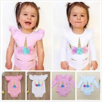 Baby Girls Unicorn Summer Romper Cotton Climbing Clothes Rou...