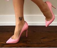 All'ingrosso nero pelle di pecora nudo in pelle verniciata in pelle verniciata per le donne Pompe da donna 8 cm / 10 cm / 12 cm moda lred bottom tacco alto tacchi alti donne scarpe da sposa