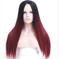Synthetic Long Straight Wig Ombre Burgundy Hair for women Da...