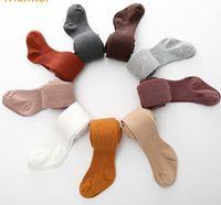 2018 Primavera Bambino Pantyhose Bambine Bambine verticali Leggings Bambini per bambini Calzamaglia per maglieria Ragazze Danza calze Bambini in cotone Bottoms R25588