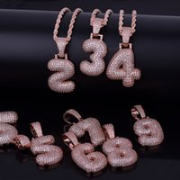 Hip Hop 0- 9 Custom Name Bubble Numbers Pendant Necklace Rose...