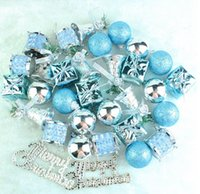 32PCS Lake Blue Silver Color Hanging Pendant Christmas Tree ...