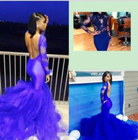 2018 Neueste Long Sleeves Mermaid Prom Kleider Sexy Backless Royal Blue Tulle Satin Sweep Zug Formale Abendkleider