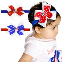 Fast Ship!USA Independence Day HeadBands Baby Girls Flag Bow...