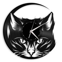 Cute Cat Elements Vinyl Creative Orologio da parete Retro Home Decor Wall Art Clock (Dimensioni: 12 pollici, Colore: nero)