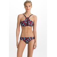 Bikini 2018 nuovo di estate della stampa del ritaglio sexy del bikini alto collo del costume da bagno delle donne dello Swimwear spinge verso l'alto Halter Biquini Donna Beach Wear costume da bagno