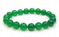 Pulsera elástica de esmeralda de 8 mm para jade verde de Malasia