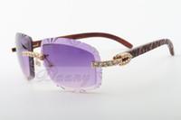 19 El enchufe de fábrica más solicitados y cortar las gafas de sol naturales de madera tallada del templo, 8300075-A, de lujo gafas de sol de diamante Tamaño: 58-18-135 gafas de sol