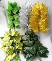 """40pcs folha de seda artificial planta 40cm / 15.75 """"simulação de grama samambaia persa grama verde 7 folhas verde / verde claro / prata / ouro"""