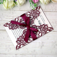 New Elegant Laser Cut Invitations Cards With Ribbons For Wed...