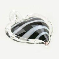 Оптовая Новый Большой Уникальный Лэмпворк Сердце Черно-Белая Полоса Murano Art Glass Ожерелье Для Женщин Подарок