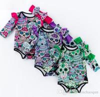 هالوين الطفل بنات بنين الجمجمة طباعة السروال القصير العصابة 2 PCS / مجموعة الرضع طويل الأكمام حللا الشعر الفرقة بوتيك ملابس أطفال 0-2T BY0376