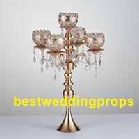 새로운 스타일 키 크고 5 팔 금속 골드 Candelabras 펜던트와 함께 로맨틱 웨딩 테이블 캔들 홀더 홈 인테리어 best0241
