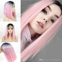 New Sexy 14 Inch Bob Ombre Pink Synthetic Short Hair Lace Fr...