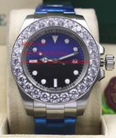 Lüks Saatı Safir 44mm Siyah / Mavi Kadran Büyük Elmas 116660 Asia 2813 Otomatik Mekanik Erkek erkek İzle Saatler