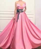 2019 embroidery shah pink prom dress Side Split Formal Long ...