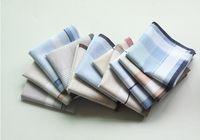 Freeshipping 10 adet Kare Şerit Mendiller 40 cm * 40 cm Erkekler Klasik Desen Cep Hanky pamuk Ekose Handerchief