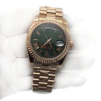 Luxury Brand Mens Watch Rose Gold Green Dial President Day- D...