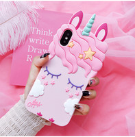3D Cute Cartoon Unicorn Horse Pink Case For iPhone 6 6s 7 8 ...