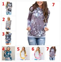 Printed Floral Hoodies Women spring Autumn Casual Gray Hoode...