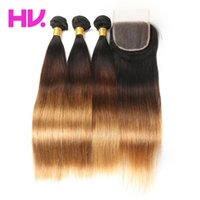Ombre malaysian straight Human Hair Bundles with 4*4 Lace Cl...