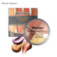 Flor de la música 4 colores Face Correaler Palette Foundation Cremoso Primer Control de aceite duradero Cubierta Manchas faciales Cosmético facial
