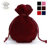 100pcs Mode 7 * 9cm Sac de velours rouge pochette noire avec cordon de serrage Calabash Bijoux Sacs d'emballage de mariage sac cadeau de Noël F3991 Accessoires