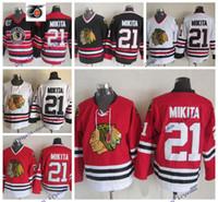 Vintage Chicago Blackhawks Stan Mikita Hockey Jersey rouge Accueil 75e anniversaire Classic # 21 Stan Mikita Cousu Hockey Chemises Hommes M-XXXL