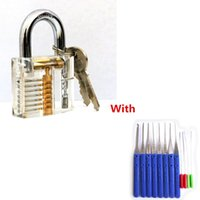 أدوات قفل يختار شفافة مرئية بيك اعتراضية الممارسة قفل قفل مع 12 قطع الأزرق كسر مفتاح إزالة السنانير أداة قفل الأقفال BK183
