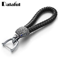 Dalaful Eagle Bird Keyrings Crystal KeyChains Woven Leather ...