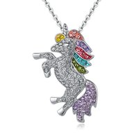 Unicorn Pendants Animal Pendant Necklaces Colour Crystal All...