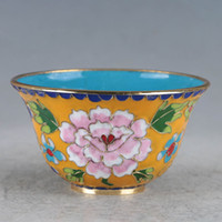 Sporting Chinese Cloisonne Hand-made Flowers Bowl Traveling Bowls