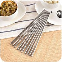 1 pares de palillos de acero inoxidable Estilo antideslizamiento de hilo Palillos durables de la astilla Palillos de la comida Chop Sticks Accesorios de cocina