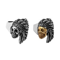 Free shipping Newest Silver Gold Indian Skull Ring Stainless...