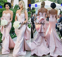Sexy Pink Mermaid Ruffles Bridesmaid Dresses with Long Train 2018 Sweetheart Boning Fishtail Garden Church Wedding Party Guest Dress