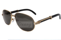منفذ المصنع الجديد الأسود الطبيعي القرن النظارات الشمسية، 566 المتأنق نظارات شمسية معدنية الإطار، الحجم: 61-16-140mm. نظارات عصرية